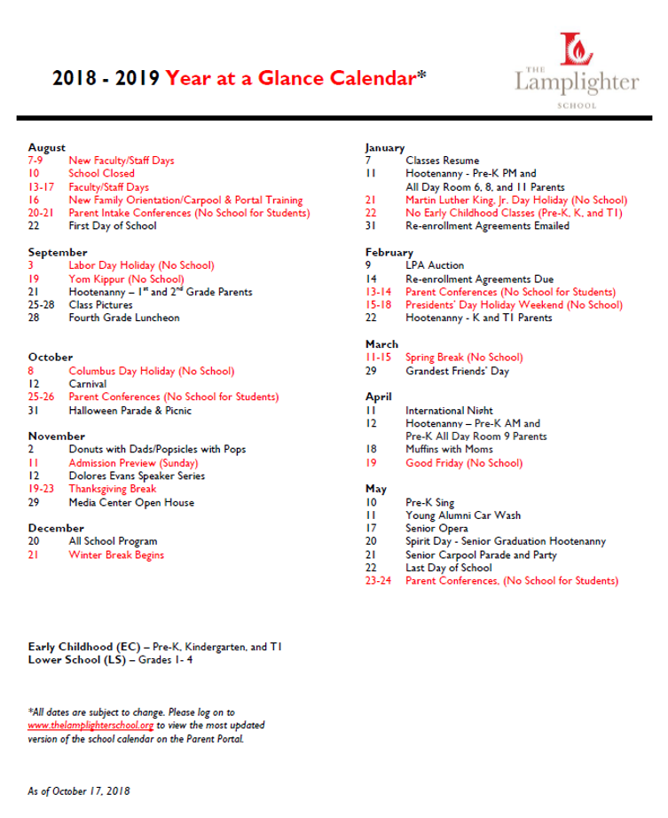 the lamplighter school calendar schedule 2015 2016 new school